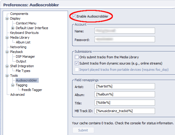 Audioscrobbler foobar not working